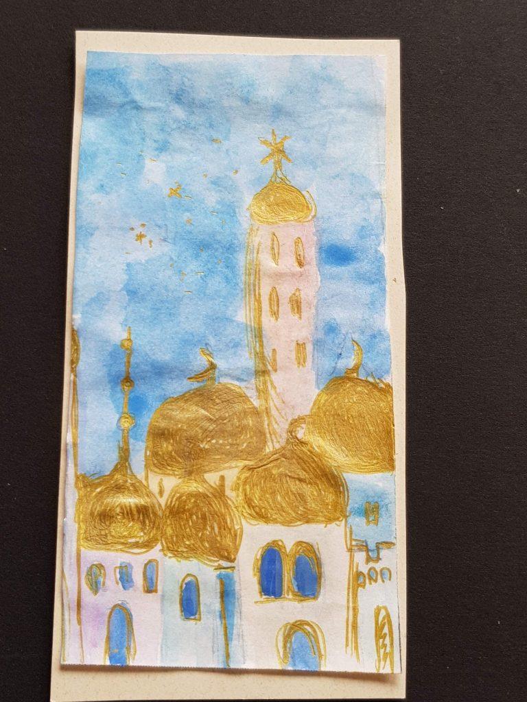 "Aquarelle Titel ""Jerusalem of Gold"" von Gisela Kentmann (1)"