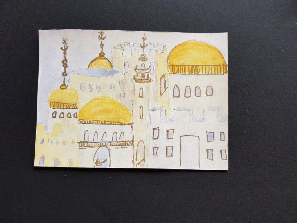 "Aquarelle Titel ""Jerusalem of Gold"" von Gisela Kentmann (2)"