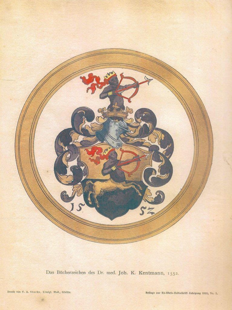 Ex Libris des Dr.Johannes Kentmann Familienwappen