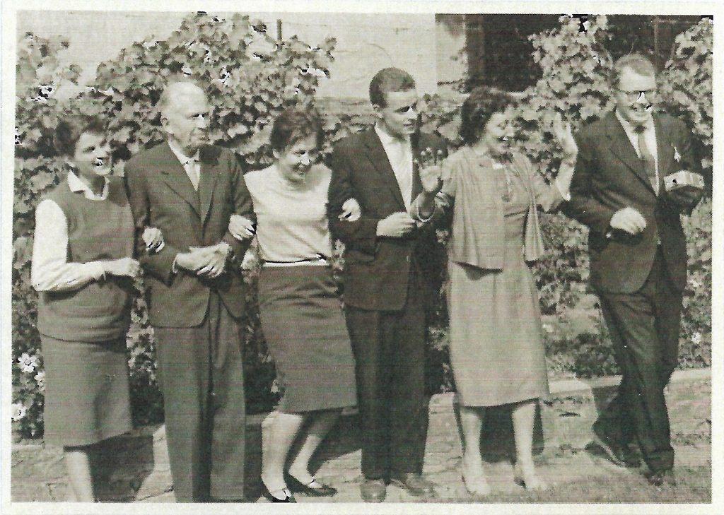 Familientreffen 1960, v.l.n.r. Bea, Gerhard, Doris, Woldemar, Karin, Hannes Kentmann