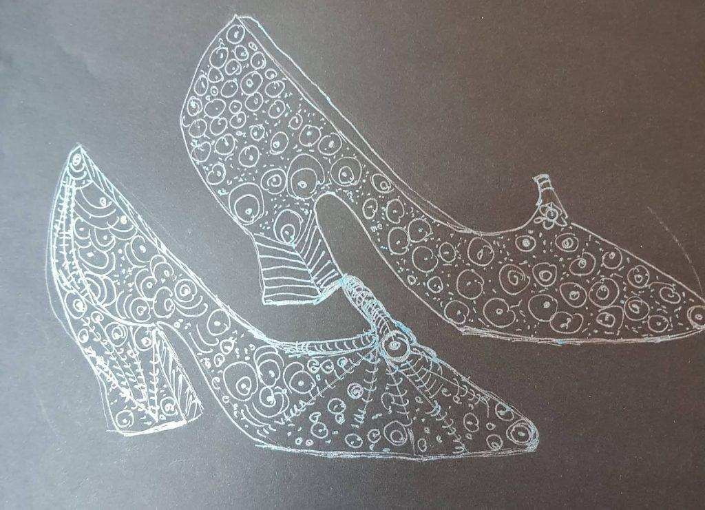 Für Cinderella Gläserne Schuhe, Gisela Kentmann, Federzeichnung