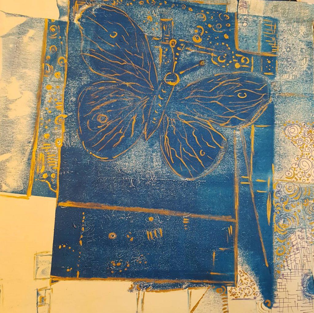Farfalla blue, Technik Monotypie:Federzeichnung, Gisela Kentmann