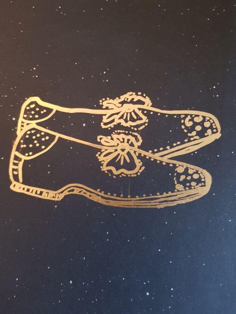 Goldene Schuhe 2 - Graphik, Gisela Kentmann