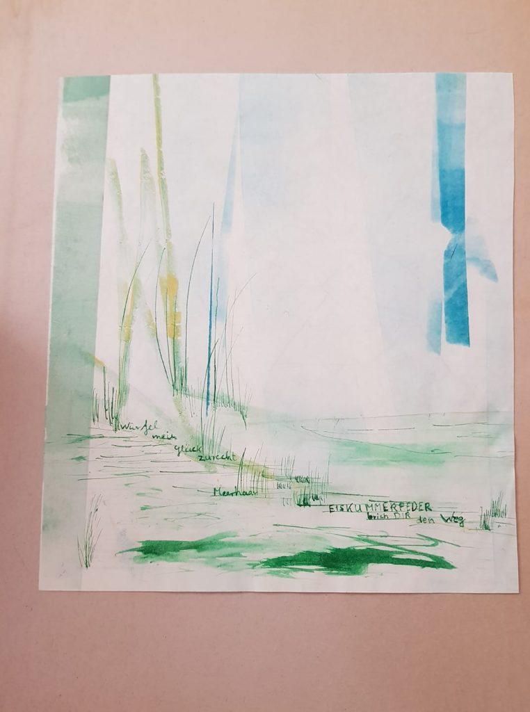 Graphik von Gisela Kentmann Titel: Im Fluss