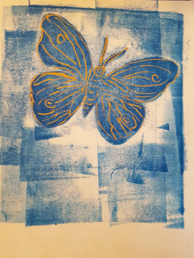 Papillon bleu Beauté ephémère Technik Monotypie:Federzeichnung, Gisela Kentmann